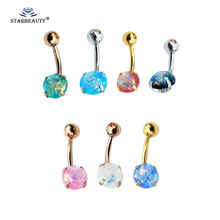 New Brand 3 Color Fake Opal Style Belly On Stud Body Piercing Jewelry Navel 316l