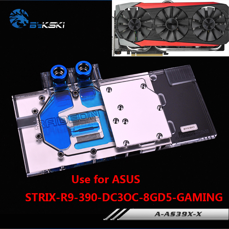 BYKSKI Full Cover Graphics Card Block use for ASUS STRIX-R9-390-DC3OC-8GD5-GAMING Video Card Copper Block RGB Light bykski water block use for gigabyte gv n98txtreme 6gd gv n98txtreme w 6gd full cover graphics card copper radiator block rgb
