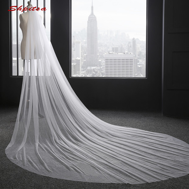 White Or Ivory Long Cathedral Wedding Veil 3 M Vail One Layer Bride Bridal Veils Metry With Comb