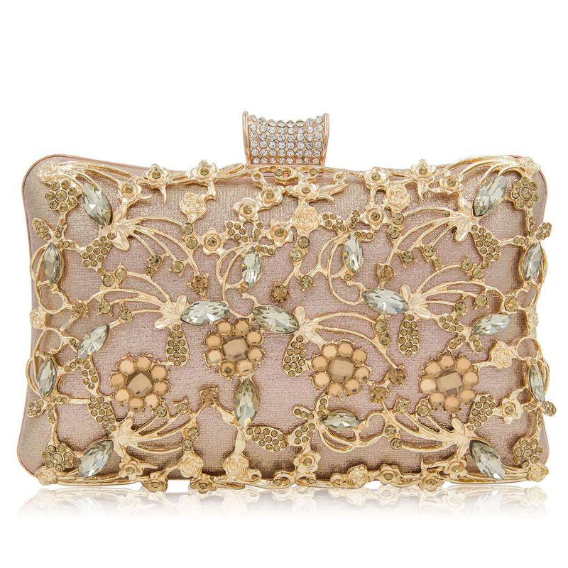 Women Hollow Flower Party Clutch Luxury Purse Glitter Evening Prom Bag Chain WalletWomen Hollow Flower Party Clutch Luxury Purse Glitter Evening Prom Bag Chain Wallet