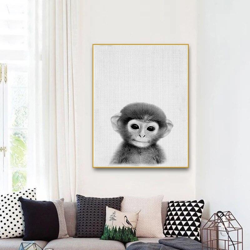 Nordic Poster und Drucke Schwarz Weiß Wandkunst Leinwand Malerei Tier Bild Für Wohnzimmer Skandinavischen Affe Wohnkultur
