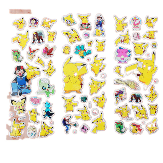Pikachu 3D Sticker 20 sheets/set Pokemon Stickers for Kids Home Wall ...