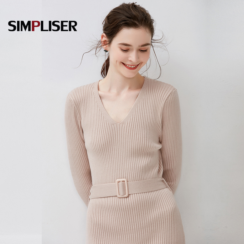 2018 Autumn Winter Woman Dresses Solid V Neck Long Sleeve Elegant Knitted Sweater Dress With Belt Knee Length Bodycon Robe Dress