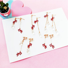 The new jewelry source original earrings goldfish with long fringe Asymmetrical water earrings without ear clip
