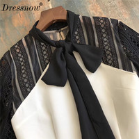 High Quality Dresses for Women Long Sleeve Black Mix White Sheath Sexy Mini Dress for Summer