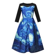European style vintage print woman dresses spring and autumn elegant a-line o-neck empire long sleeve female 90s