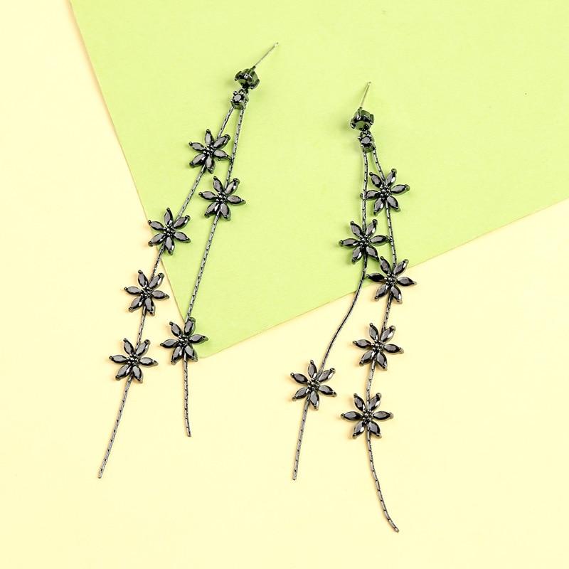 me0040 2018 New Black Color Copper Zircon Srar Tassel 925 Silver Needle Drop Earrings for Women Fashion Jewelry