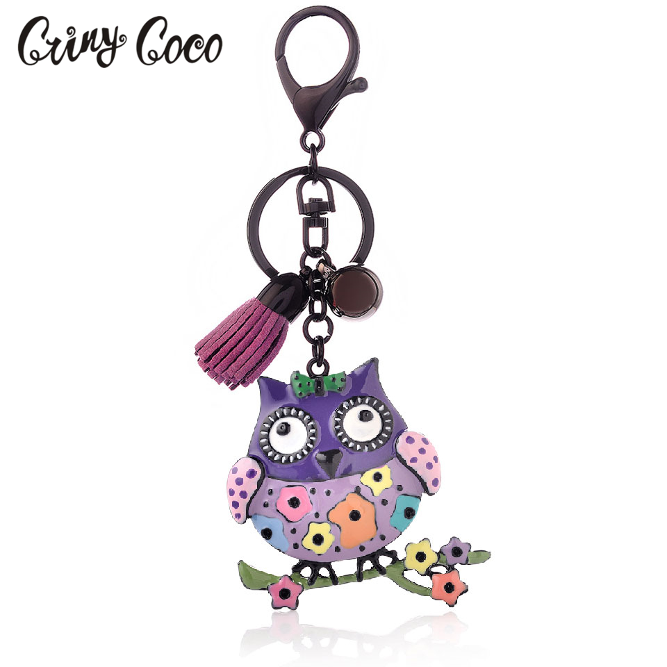 Cute Owl Enamel Key Chains For Women Fashion Girl Colorful Metal Bird Flowers Pendant Keychain Tassel Fashion Key Chain Jewelry