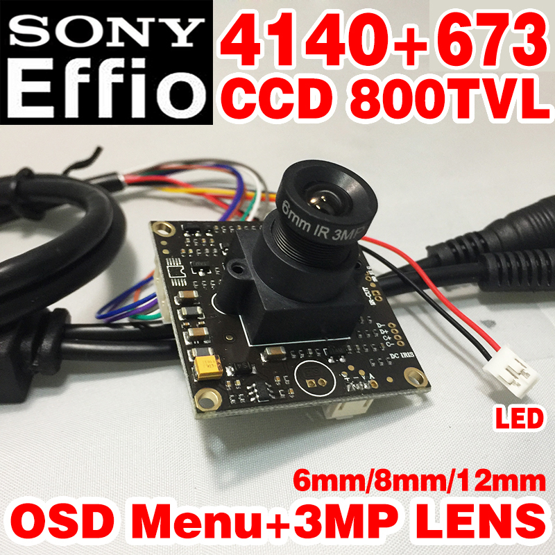 Countdown Sale!6mm HD HD Camera Monito 1/3Sony Sensor CCD Effio-e 4140+673 800TVL OSD meun function CCTV board Finished chip inventory clean up economy lower illumination surveillance system sony ccd 800tvl board for cctv camera