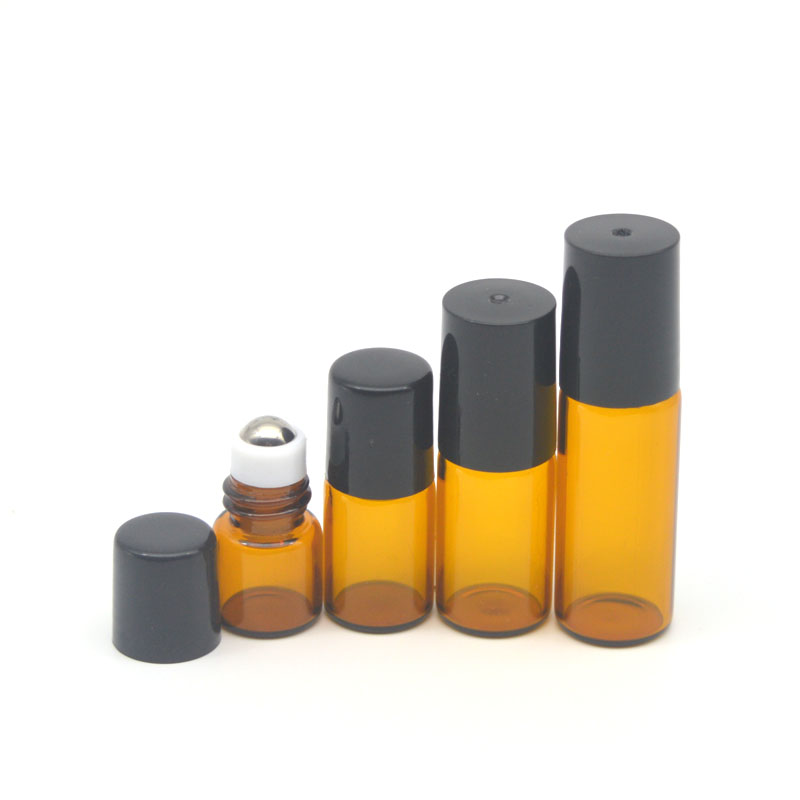 1pcs 1ml 2ml 3ml 5ml Amber Roller Glass Bottle Empty Fragrance Perfume Essential Oil Bottle 5ml Roll On Bottle