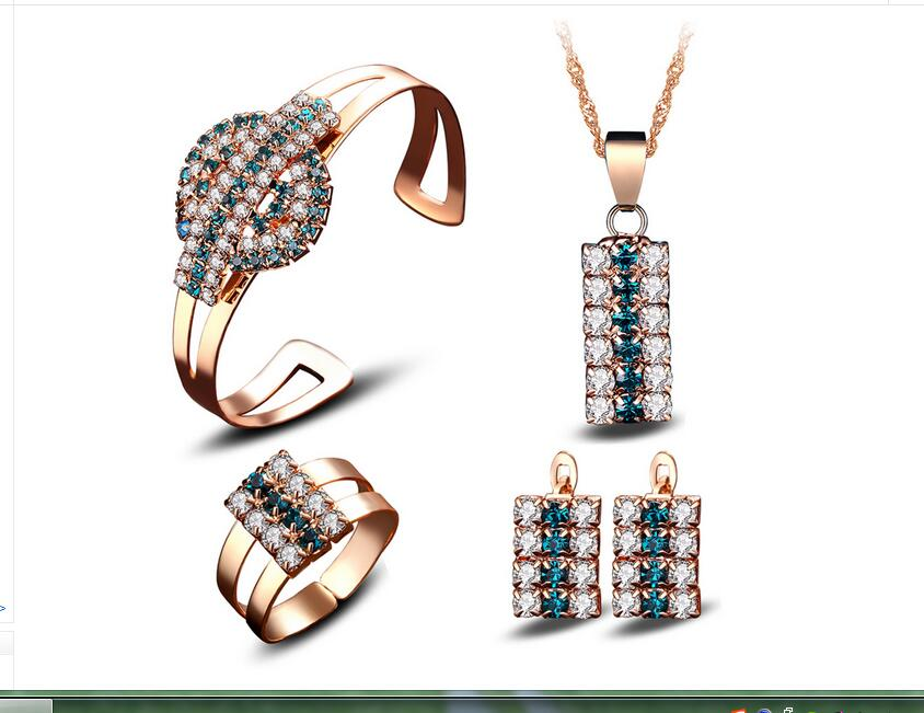 Viennois Rose Gold Crystal Rhinestone Faux pendants Alloy color gem crystal necklace bracelet earrings ring