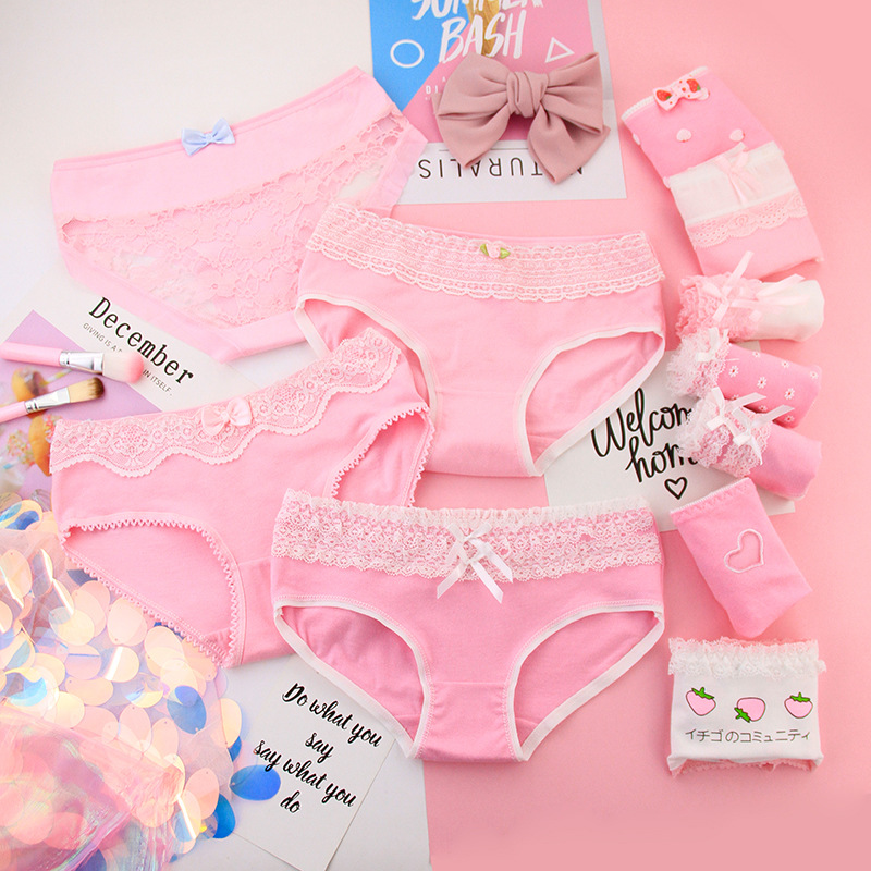 4Pcs Panties Sweet Girls Pink Underpants Young Girl Comfortable Cotton Panties New Style Kids Underwear For Teenage