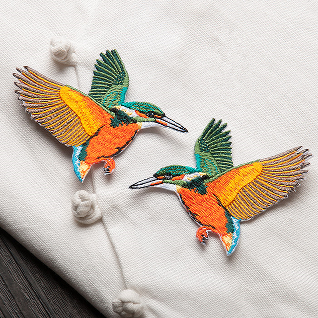 High Quality 87cm Iron On Cute Birds Patches Embroidered Applique