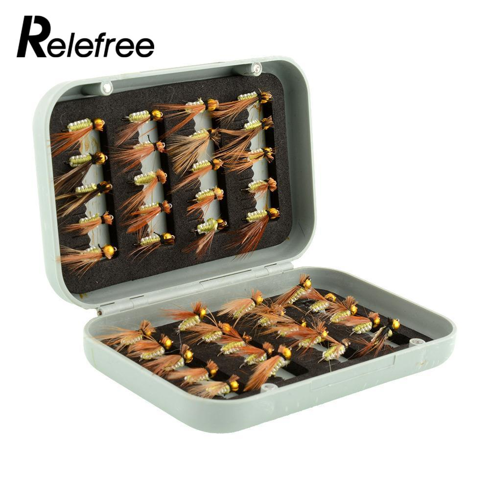 Relefree 40pcs various dry fly hooks tackle tool kits for Trout fishing hooks