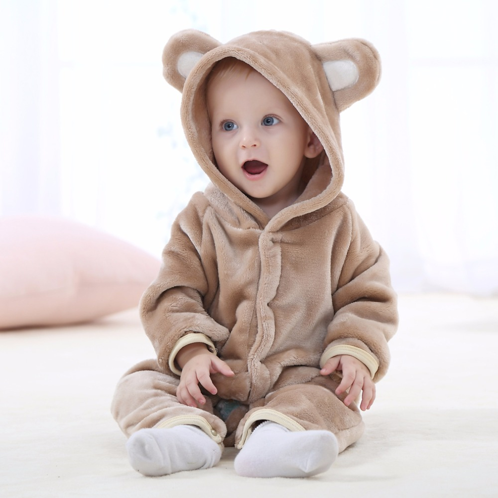Baby Girl Boy Rompers Flannel Cartoon Autumn Winter Bebe Infant baby Clothing Animal Jumpsuit Baby Long Sleeve Hooded rompers winter autumn fall baby clothes flannel baby boy clothes cartoon animal jumpsuit baby girl rompers long sleeves covered button