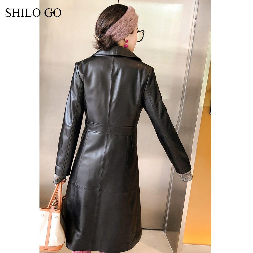 Long Nœud Shilo Office Peau Mouton Femmes Cuir En Concise Mode Printemps Aller Col De Lady Revers Trench Manteau Véritable Ceinture À aqaPrFgw