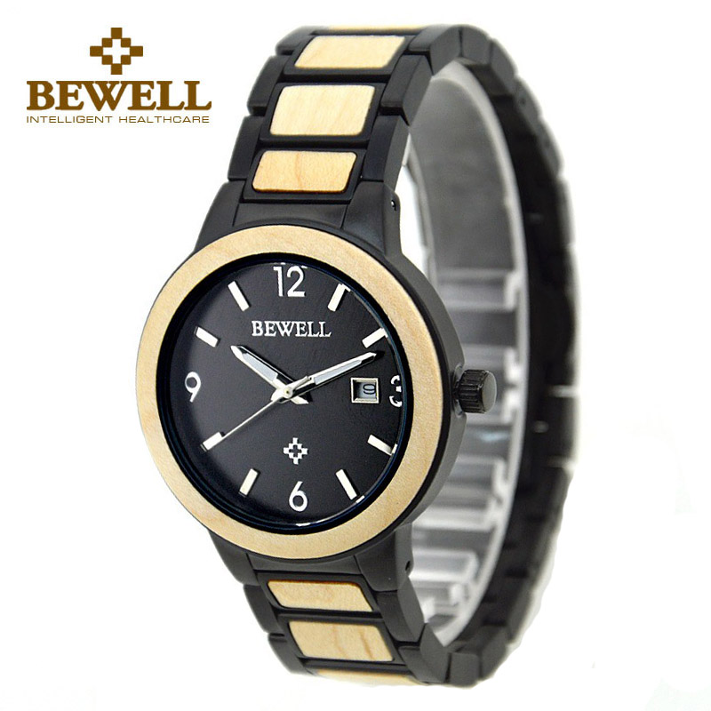 BEWELL Men Steel Watches Analog Quartz-watch Wood Watchband Quartz Watch for Man Waterproof Wristwatches Relogio Feminino 1049