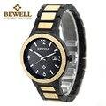 Bewell hombres relojes de cuarzo analógico de acero-madera reloj de cuarzo correa de reloj para hombre impermeable relojes de pulsera relogio feminino 1049