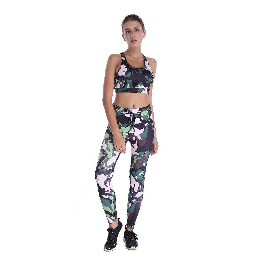 2017 Fashion Fitness Workout Set Women Printed Crop Top High Waist Elastic Leggings Pants Tracksuit Sporting Activewear