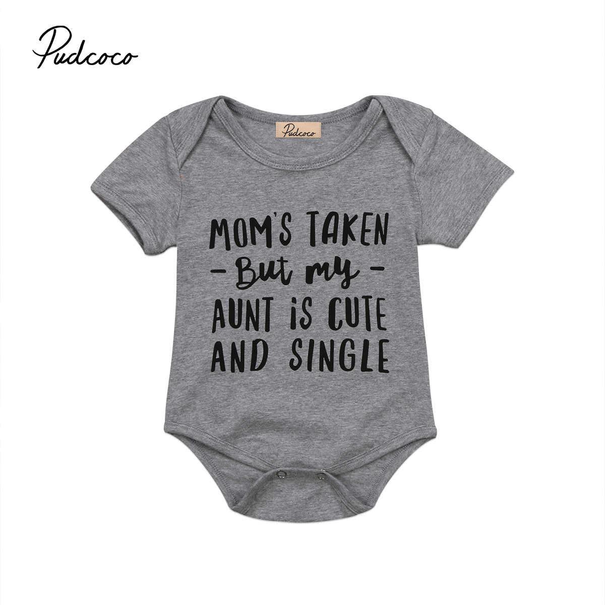60e2fd04566e aunt is cute Letter Short Sleeve Gray 2017 Casual Newborn Infant Baby Girl  Boys Bodysuit Jumpsuit