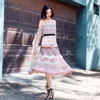2018 High Quality Self Portrait Dress Women Autumn Spring Long Sleeve Off Shoulder Lace Patchwork Pleated