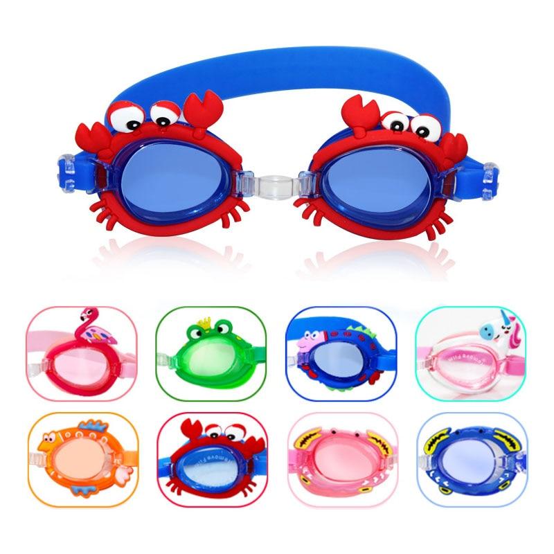 Kids Swimming Glasses Swim Goggles Anti Fog UV Protection Sunglasses Children Training Mask Eyewear Cases Bee Crab Frog Dolphin