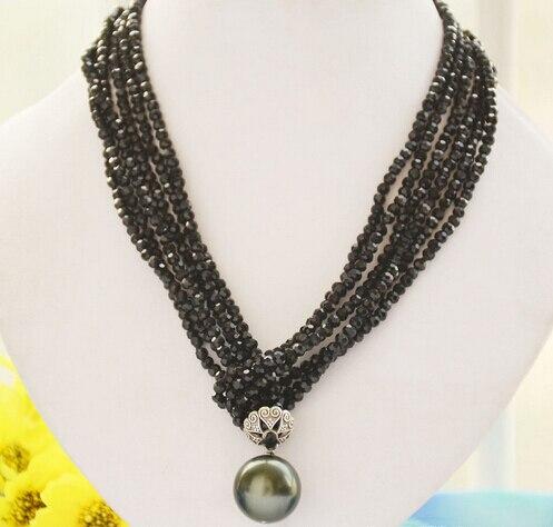 Jew2808 3 brins facettes noir agate 20mm shell perle pendentif collier 40 pouces