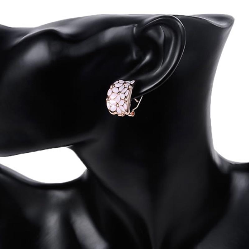 GS Top Austrian Crystal Flower Shape Opal Clip Earrings For Women Girls Party Gifts Earrings Fashion Woman 2018 Wholesale G3URFH in Clip Earrings from Jewelry Accessories
