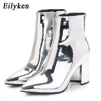 Eilyken Sliver Gold Women Ankle Boots Pointed Toe Chunky High Heel Boots Mirror Metallic Women Pumps Female Sexy Stiletto Boots
