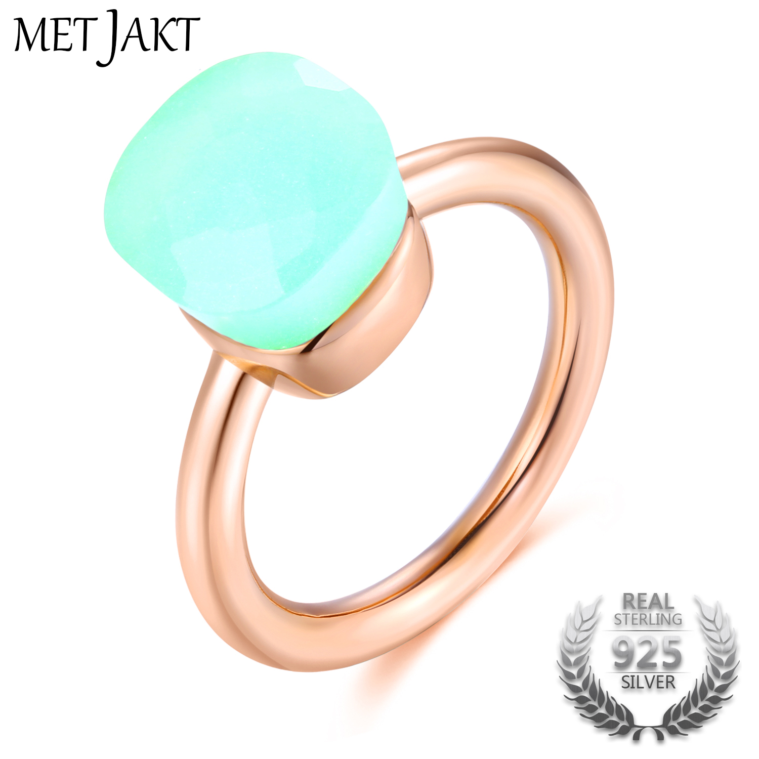 MetJakt 14K Rose Gold Color <font><b>Nudo</b></font> Agate Rings 925 Sterling Silver Classic Love with Natural Blue Topaz Stone