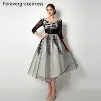 Forevergracedress Vintage Lace Up Back Mother Of The Bride Dress Tea Length Short Wedding Party Dress
