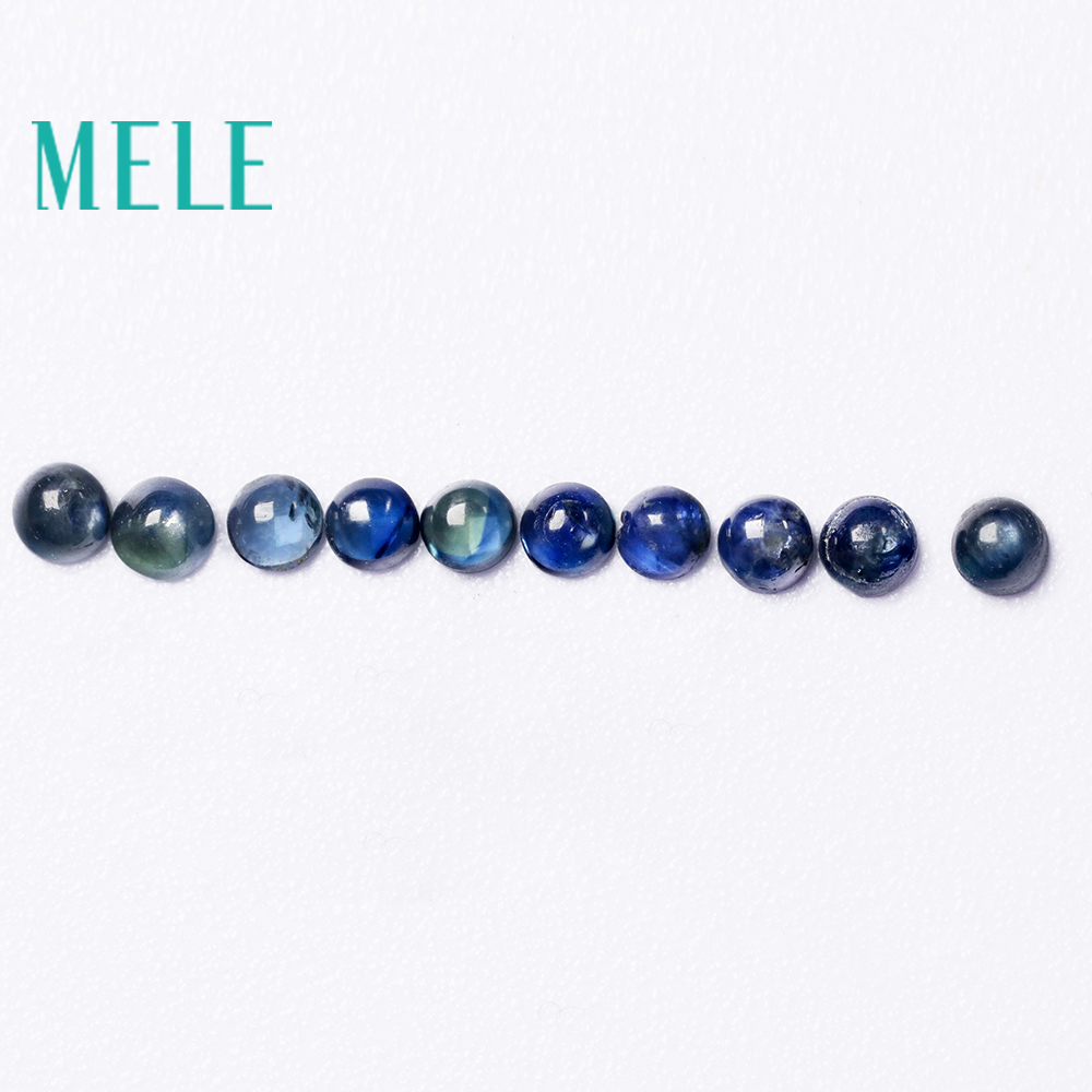 MELE Natural Blue Sapphire loose gemstone for jewelry making,2.5-3mm Round 0.5--1ct 10p fine jewelry DIYstones with High quality
