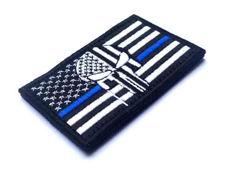 thin blue line union flag patch cops - 750×543
