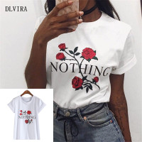DLVIRA S XXL Nothing Letter Print Rose Harajuku T Shirt Women Summer Casual Short Sleeve Shirt