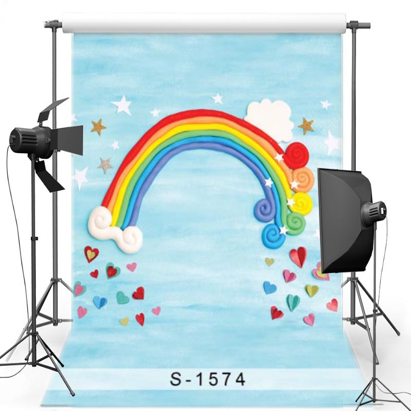 Cartoon Vinyl cloth Photography Background For Party Rainbow New Fabric Polyester Backdrops for Children photo studio S1574 vinyl floral flower newborn backdrops cartoon unicorn photography background studio photo props 5x3ft