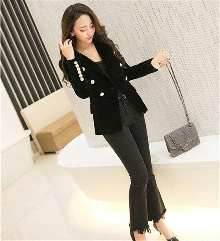 2016 New Spring Fashion Women Midnight Navy Slim Velvet Blazer Jacket Double Breasted simple Lady Blazers  (4)