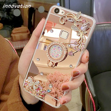Innovation Case For iphone 5S Diamond Rhinestone Mirror Phone Bag Back Cover For Apple iphone 5 5G Ring Stand Finger Holder hollowed diamond ring pattern titanium frame case for iphone 5 5s gold