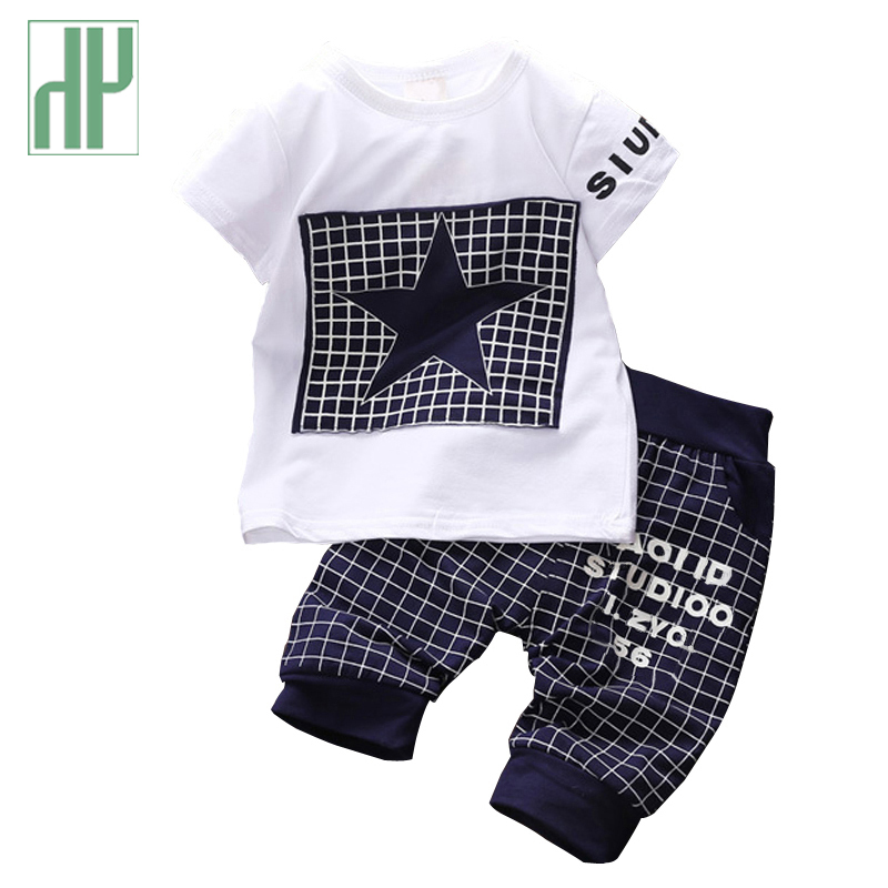 Baby boy clothes 2017 Brand summer kids clothes sets t-shirt+pants suit clothing set Star Printed Clothes newborn sport suits summer baby boy clothes set cotton short sleeved mickey t shirt striped pants 2pcs newborn baby girl clothing set sport suits