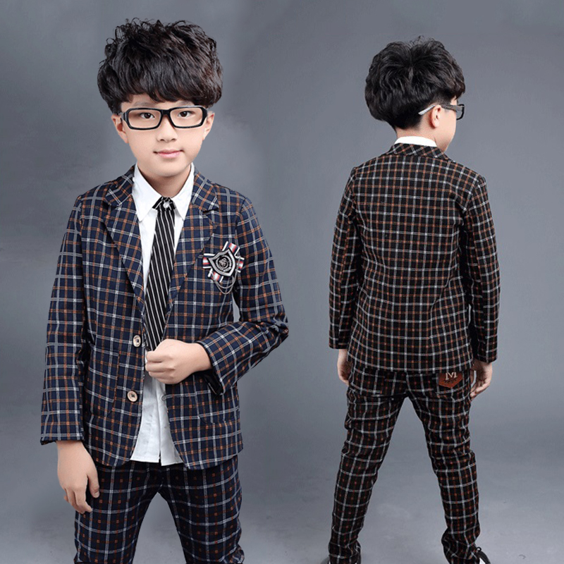 Boys Spring Clothing sets England Plaid Blazer suits Kids clothes Baby Blazers jackets set 2 Pieces Casual Outfits