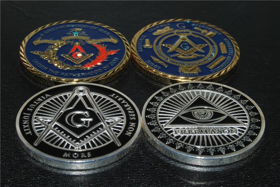 MIx order two design Metal Craft Freemason Masonic Mason illuminati all-seeing eye replica coins (1)