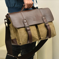 New British Briefcase Retro Men Messenger Bags Men Travel Bags Canvas With Leather Bag Men Briefcase Bolsos Shoulder Bags