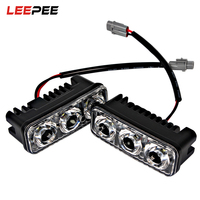 LEEPEE 2Pcs High Quality Car DRL Car Styling 6 LED Bulbs Light Source Auto Lamp DC