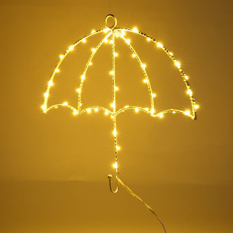 Nightlight Creative LED Iron Clothes Stand Hanger Purple Yellow Umbrella Modelling Wall Decoration hot