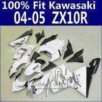 Для литья под давлением Обтекатели Для Kawasaki Ninja Zx10r zx 10r 2004 2005 04 05 белый черный линии Обтекателя kit Бесплатный заказ x07