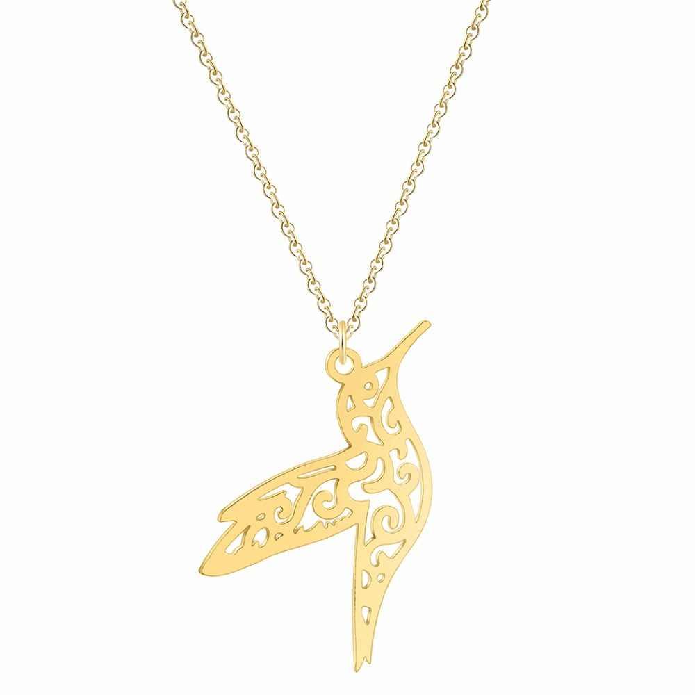 Silver Hummingbird Necklace Women Hollow Bird Animal Pendants Necklaces Minimalist Retro Jewelry Gift For Girls