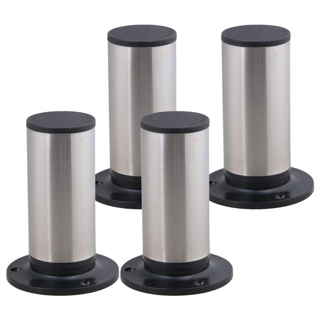 4Pcs Furniture Cabinet Metal Legs Adjustable Stainless Steel Kitchen Feet Round Black And Silver 120 X 85mm