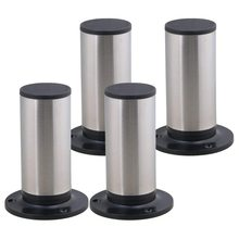 4Pcs Furniture Cabinet Metal Legs Adjustable Stainless Steel Kitchen Feet Round Black and Silver 120 x 85mm(China)