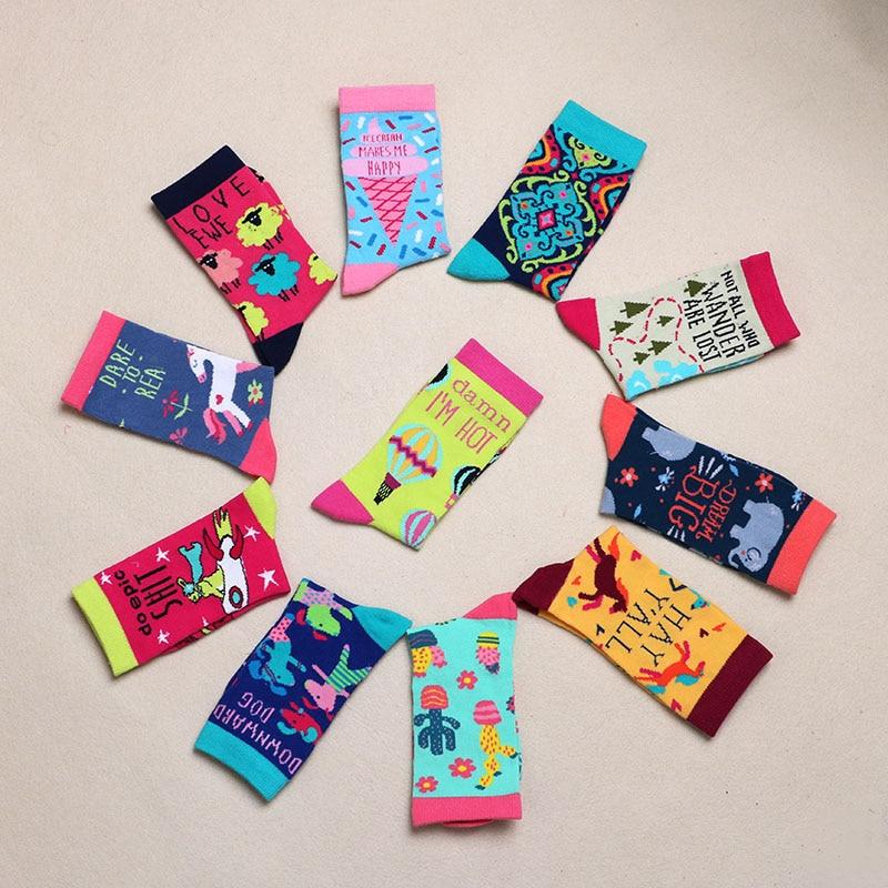 Fashion Happy Socks Ladies Girls Cotton Soft Sox Beautiful Curve Men Funny Women Art Socks