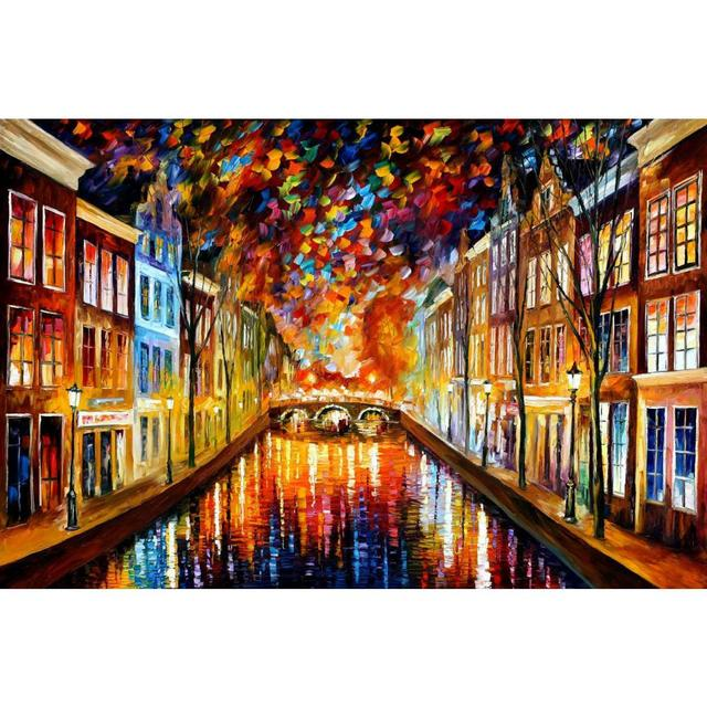 Superieur Modern Art Paintings For Sale Night Amsterdam Knife Oil Painting Landscape  For Living Room Hand Painted