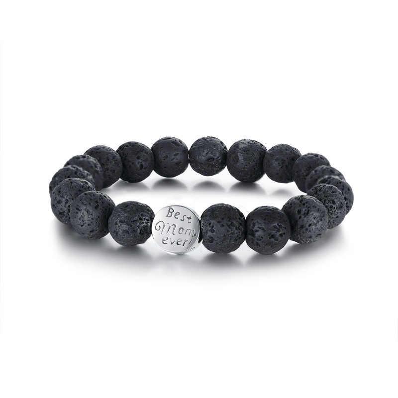 Vnox Best Mom Flower Charm Brcelets for Women Stainless Steel Power Lava Stones Beads Female Pulseira Best Mother Gift